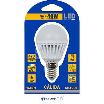 SEVENON 5 W (40W) lampara LED esferica mate luz calida casquillo E14