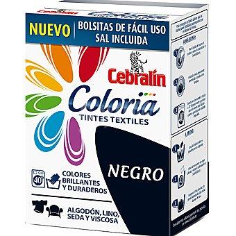 CEBRALIN Coloria Tinte para ropa color negro contiene 2 bolsitas tinte + sal caja 300 g Caja 300 g