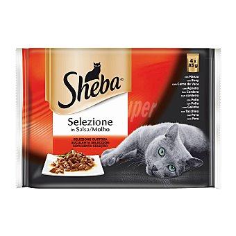 Sheba Comida para gatos adultos a base de pollo, buey, conejo y pavo en salsa 4 uds. 85 g