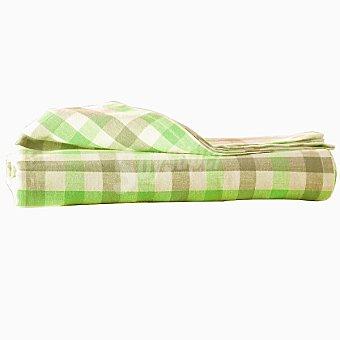 CASACTUAL Vichy Check mantel jacquard rectangular en color verde 150 x 250 cm