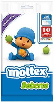 Moltex Baberos desechables Pocoyo triple acción protectora Paquete 10 unidades