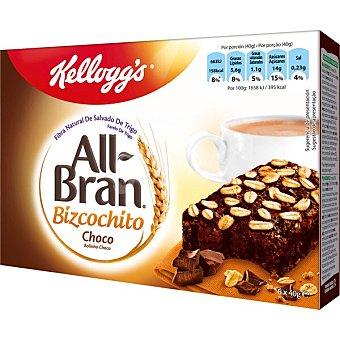 All Bran Kellogg's Bizcochitos choco con fibra natural de salvado de trigo 6 unidades Paquete 240 g