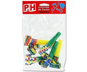 P & H Matasuegras con pluma 6 Unidades