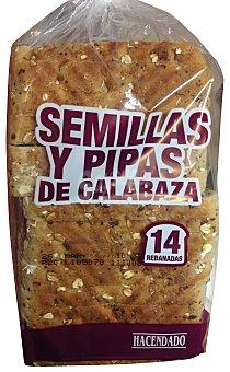HACENDADO Pan de molde con semillas y pipas de calabaza Paquete de 580 g