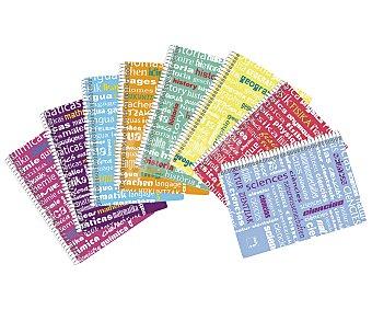 PACSA Cuaderno de tamaño DIN A4, con cuadricula de 4x4 milímetros, 80 hojas de 90 gramos con margen, tapas de polipropileno de alta resistencia con la palabra historia en diferentes idiomas y encuadernación con espiral metálica pacsa 90 gramos