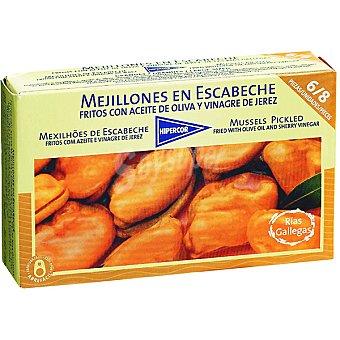 Hipercor mejillones en escabeche fritos con aceite de oliva 6-8 piezas  lata 69 g neto escurrido