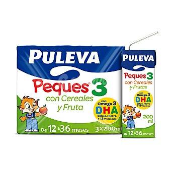 Puleva Peques Leche (3) de crecimiento con cereales y frutas, de 12 a 36 meses 3 x 200 ml