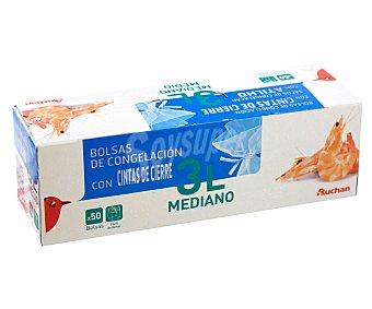 Auchan Bolsas de congelación con cintas de cierre, capacidad 3 litros 50 unidades