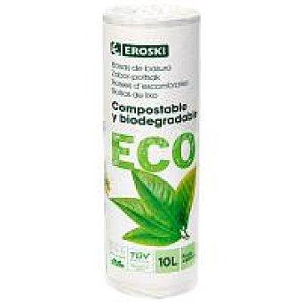 Eroski Bio/ECO + E.Natur BIO Bolsa de basura 10 l. biodegradable-comp Paquete 15 uds