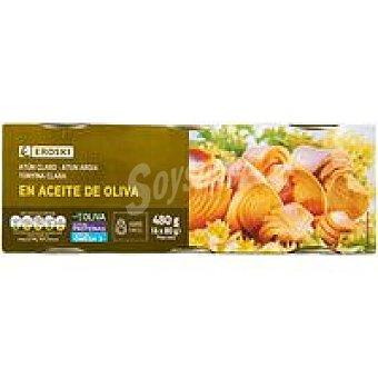 Eroski Atún claro en aceite de oliva Pack 6x80 g