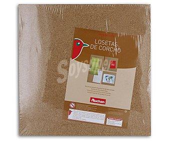 Auchan Pack de 4 losetas de corcho de 30 x 30 centímetros auchan Pack de 4