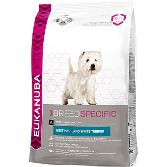 Eukanuba West highland white terrier mini adult pienso completo para perros adultos bolsa 2,5 kg de raza West highland White Terrier Bolsa 2,5 kg