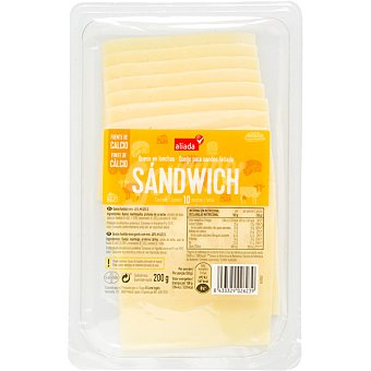 Aliada Queso sándwich en lonchas Envase 200 g