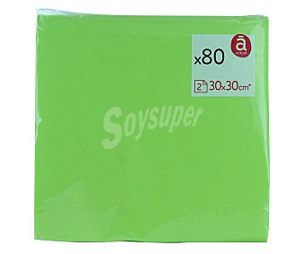 AUCTUEL Servilletas 30x30 centímetros, color verde, 2 capas 80u