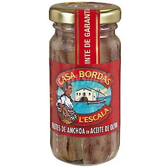 CASA BORDAS Filetes de anchoa en aceite de oliva frasco 55 g neto escurrido