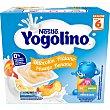Postre lácteo sabores plátano y melocotón sin gluten desde 6 meses sin aceite de palma Pack 4 envase 100 g Yogolino Nestlé
