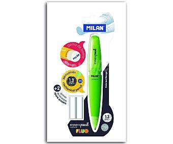 Milan Portaminas con grosor de escritura de 1.3 milímetros con goma de borrar + 2 recambios 1 unidad