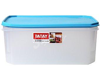 Tatay Tupper cuadrado de plástico transparente con tapa color azul, 4.7 litros 1 Unidad