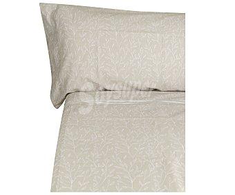 Productos Económicos Alcampo Juego de sábanas de 4 piezas color beige estampado, 52 % algodón, 160cm., ALCAMPO.