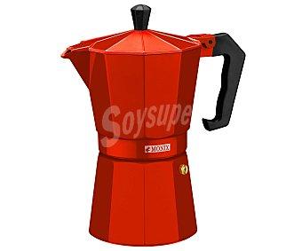 MONIX Cafetera italiana de 6 tazas fabricada en aluminio color rojo fresa, apta para vitrocerámicas 1 unidad