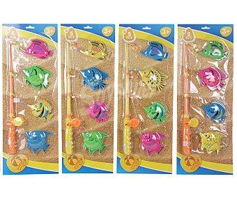 SPORTS & FUN Juego de pesca de plástico que incluye replica de caña y 4 peces Juego de pesca