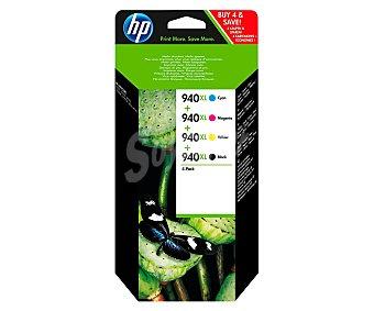 HP Pack de cartuchos de tinta 940XL, nagro, cian, magenta y amarillo, compatible con impresoras: Officejet Pro 8000 / 8500 / 8500A.