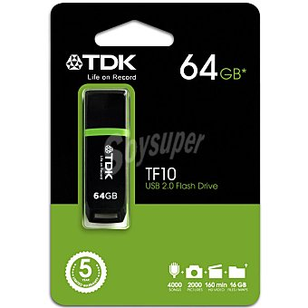 TDK TF10 Pen Drive Flash 64 GB en color negro