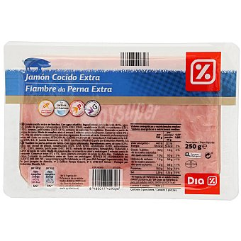 DIA Jamón cocido extra Sobre 250 gr