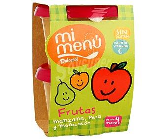 Dulcesol Tarrina 3 frutas manzana pera y melocotón 2 unidades 200 gramos