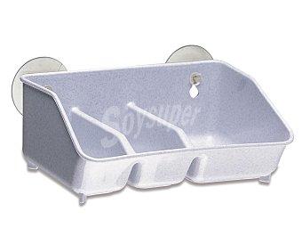 ARAVEN Recipiente de plástico blanco con 3 compartimentos y 2 ventosas para fijarlo en la pared 1 Unidad