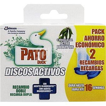 Pato Desinfectante WC discos activos de gel active eucalyptus con agentes blanqueantes recambio 2 unidades