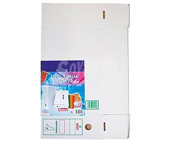 Auchan Lote de 3 cajas de archivos de cartón blanco, de tamaño folio y con lomo personalizable auchan