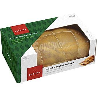 Sertina Pularda rellena trufada con foie de pato, manzana, castañas, ciruelas y vinos olorosos peso aproximado caja 2,5 kg