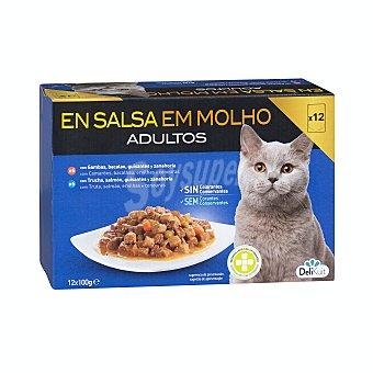 Delikuit Comida gato adultos bocaditos salsa pescado (6 gambas y bacalao, 6 salmón y merluza) Pack 12 x 100 g