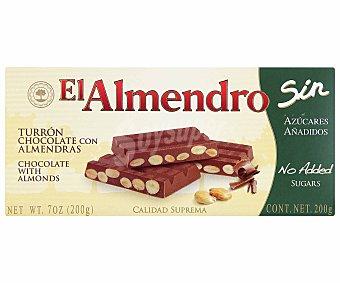 El Almendro Turrón de chocolate con almendras sin azúcares añadidos 300 gramos