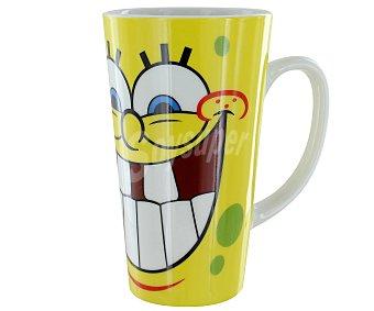 BRESSON Mug o taza grande cónica alta de cerámica con asa, ilustraciones de Bob Esponja 1 Unidad