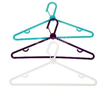 Actuel Pack de 3 perchas de plástico de color, ACTUEL. Este producto dispone de distintos modelos o colores. Se venden por separado, SE SURTIRÁN SEGÚN EXISTENCIAS 3u
