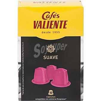 Cafés Valiente café natural suave ápsulas compatible con cafetera Nespresso estuche 50 g 10 c