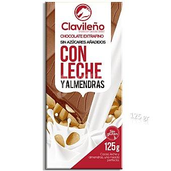 Clavileño Chocolate con leche y almendras sin azúcar 125 g