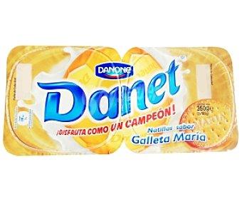 Danet Danone Natillas de vainilla con galleta María Pack de 2x130 g