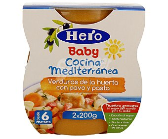 HERO BABY COCINA MEDITERRANEA Tarritos de verduras de la huerta con pavo y pasta desde 6 meses estuche 400 g pack 2x200 g