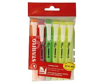 Stabilo Lote de 6 marcadores fluorescentes con punta biselada con grosor de trazo de 1 a 4 milímetros y tinta amarilla, verde, rosa y naranja, swing cool 1 unidad