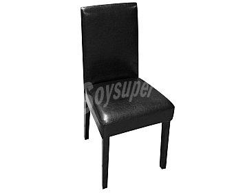 Sdpe Silla de diseño clásico para salón comedor modelo Ying II color marrón Wengue, estructura de madera con asiento y respaldo de polipiel acolchada, 93x45x48 centímetros 1 unidad