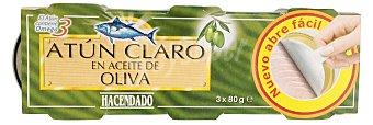 HACENDADO ATUN CLARO ACEITE OLIVA ( ABREFACIL SOLAPIN) 3 latas (240 g - 180 g escurrido)