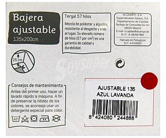 Auchan Sábana bajer ajustable color lavanda, 135 centímetros 1 Unidad