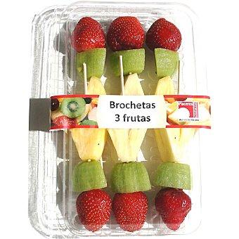 PLACERES NATURALES Brochetas de tres frutas con piña, kiwi y fresón Bandeja 500 g