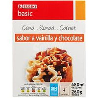 Eroski Basic Cono de vainilla-chocolate Pack 4x120 ml