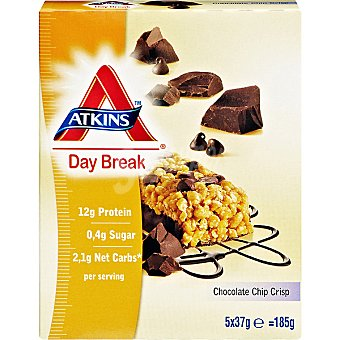 ATKINS DAY BREAK barritas de migas de chocolate crujiente envase 185 g 5 unidades