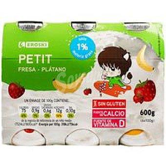 Eroski Petit para beber de fresa-plátano Pack 6x100 ml