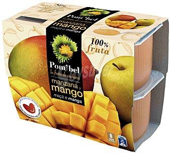 Pom'Bel Compota de manzana y mango 100% fruta Pack 4 tarrinas x 100 g
